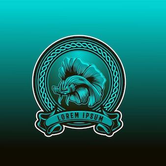 Półksiężycowe logo obramowania ryb