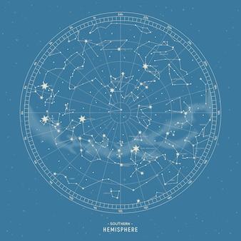 Półkula południowa. mapa gwiazd konstelacji.