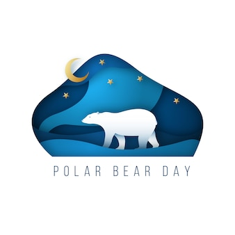 Północny polarny niedźwiedź polarny w stylu sztuki papierowej.