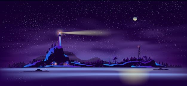 Północny seashore nocy krajobrazu kreskówki wektor