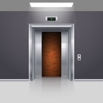 Półotwarte chromowane metalowe drzwi windy z impasem