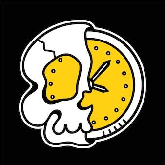 Połowa czaszki z zegarem wewnątrz koszulki, nadruk na koszulce. wektor ręcznie rysowane linii stylu lat 70-tych charakter ilustracja kreskówka. trippy pół czaszki, czas, zegar, nadruk śmierci na koszulkę, plakat, koncepcję karty
