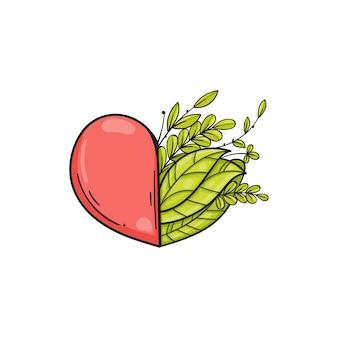 Połowa serca z zielonymi liśćmi.