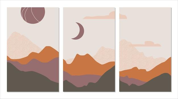 Połowa wieku abstrakcyjny krajobraz górski, słońce, księżyc w kolorach ziemi, spalona pomarańcza. nowoczesny minimalist