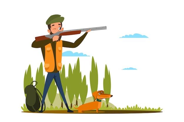 Polowanie z płaską ilustracją psa myśliwskiego, młody myśliwy przygotowujący się do strzelania do postaci z kreskówki, człowiek celujący, trzymający karabin, rekreacja na łonie natury, hobby na świeżym powietrzu, wypoczynek, mężczyzna z jamnikiem w lesie