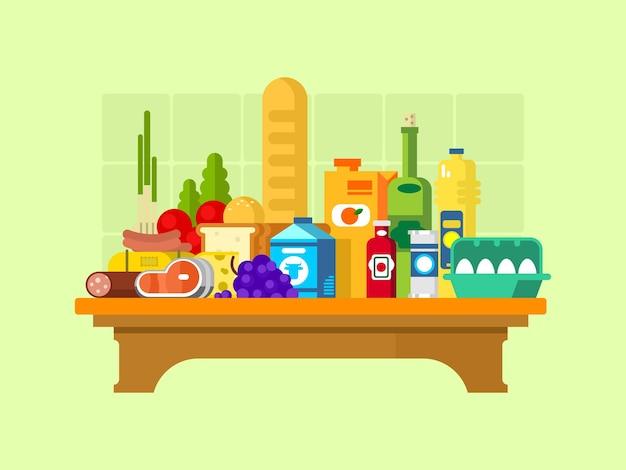 Połóż jedzenie na stole. wino i winogrona, mleko i kiełbasa, bochenek i sok, olej i jajka, ilustracji wektorowych