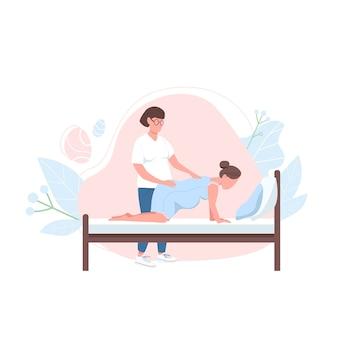 Położnik z postacią bez twarzy o płaskim kolorze kobiety. alternatywne profesjonalne wsparcie przy porodzie. ciąża pomaga na białym tle ilustracja kreskówka do projektowania grafiki internetowej i animacji