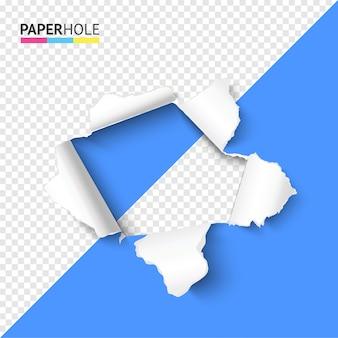 Półprzezroczysty, kolorowy, rozdarty papierowy otwór z rozdzieranymi krawędziami ujawnia jakąś wiadomość