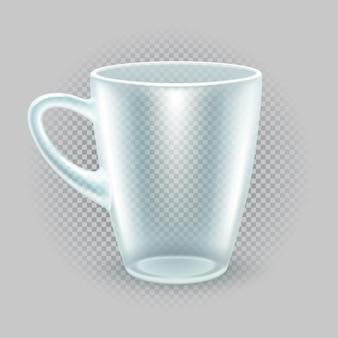 Półprzezroczysty kubek śniadaniowy. przybory kuchenne do herbaty lub kawy. makieta do reklamy w restauracji. na przezroczystym tle. ilustracji wektorowych