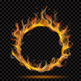 Półprzezroczysty pierścień ognia płomienia z dymem na przezroczystym tle. do stosowania na ciemnym tle. przezroczystość tylko w formacie wektorowym