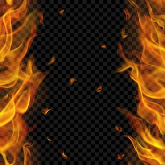 Półprzezroczysty płomień ognia z pionowymi powtórzeniami po dwóch stronach, po lewej i prawej stronie, na przezroczystym tle.