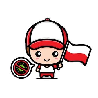 Polska chłopiec z flagą przeciwko wirusowi