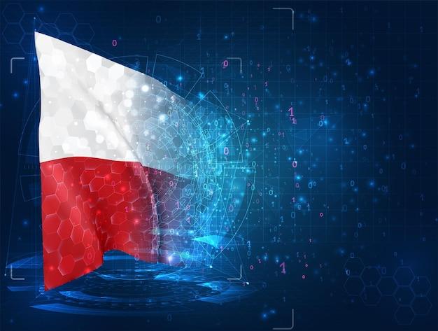 Polska, flaga 3d na niebieskim tle z interfejsami hud