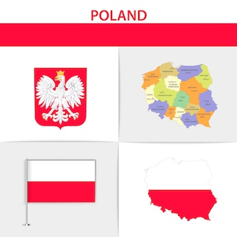 Polska flaga mapa i herb
