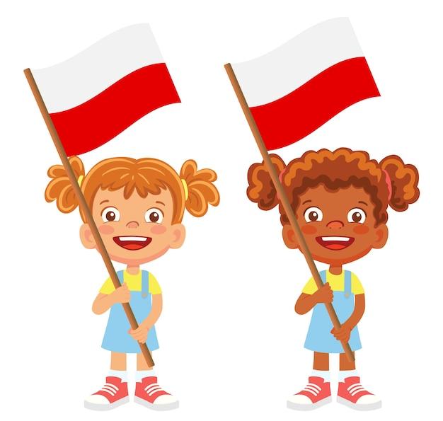 Polska flaga w ręku. dzieci trzymając flagę. flaga narodowa polski wektor