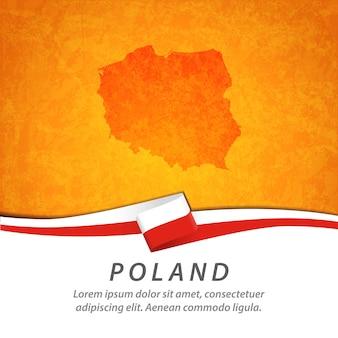 Polska flaga z centralną mapą
