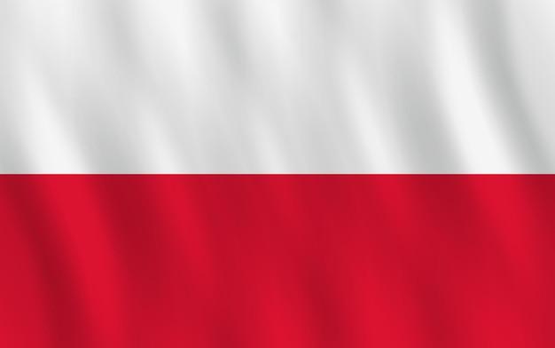 Polska flaga z efektem falowania, oficjalne proporcje.
