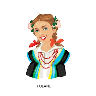 Polska kobieta ilustracja