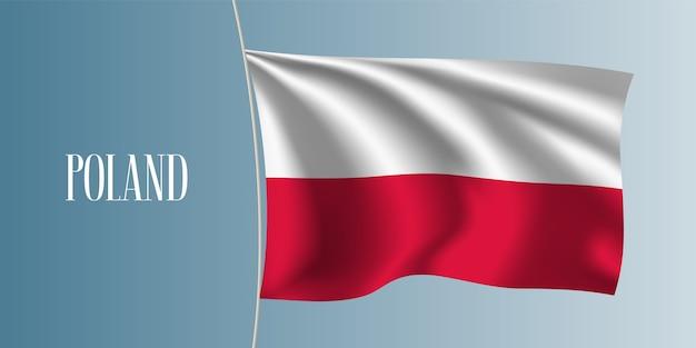 Polska macha flagą ilustracja