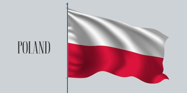 Polska macha flagą na maszcie
