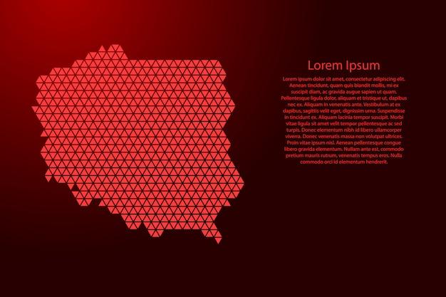 Polska mapa abstrakcyjna schematu z czerwonych trójkątów