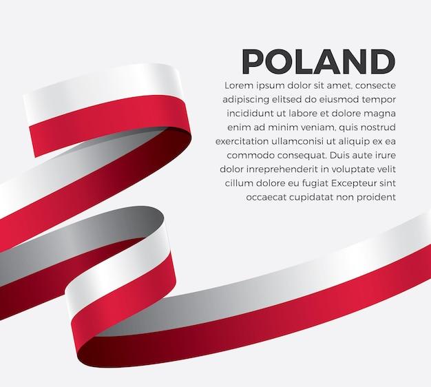 Polska wstążka flaga, ilustracja wektorowa na białym tle