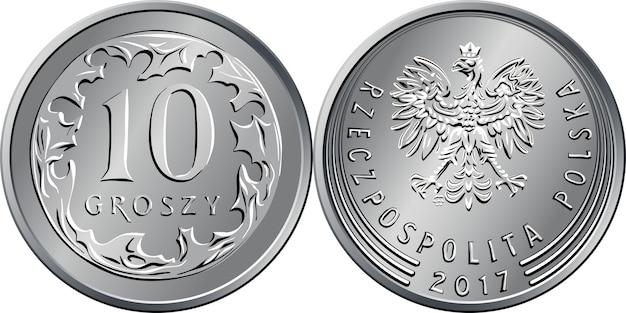 Polskie pieniądze rewers srebrnej monety 10 groszy z oznaczeniem value i 10 okrążonymi liśćmi, awers z orłem w koronie