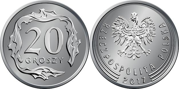 Polskie pieniądze rewers srebrnej monety 20 groszy z wartością i 20 kwadratowymi listkami, awers z orłem w koronie