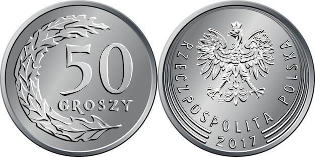Polskie pieniądze rewers srebrnej monety pięćdziesiąt groszy z wartością i 50 listkami w kształcie półkola, awers z orłem w koronie