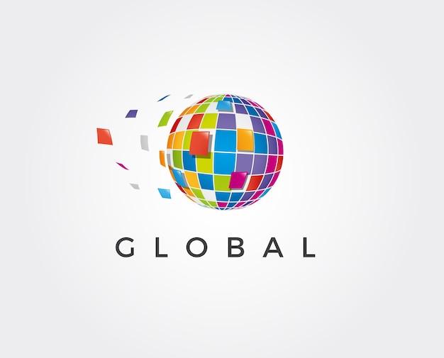 Półtony 3d glob projekt logo wektor ikona symbolu. kropkowana ikona globu