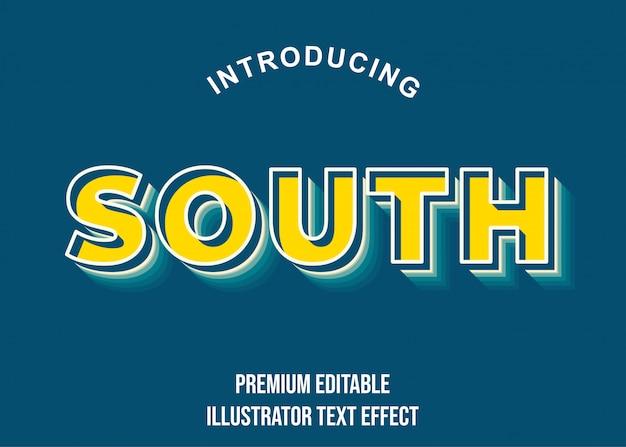 Południe - 3d żółty niebieski efekt tekstowy styl czcionki