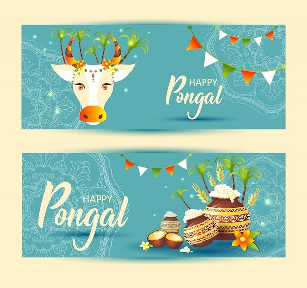 Południowo-indyjski festiwal pongal szablon tło