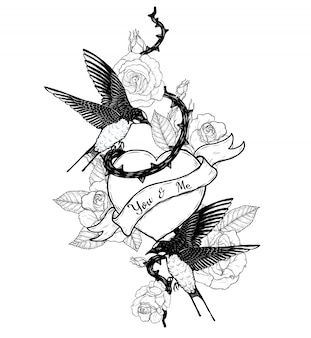 Połyka z tatuażem wektor serca ręcznie rysunek