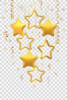 Połyskujące wiszące złote gwiazdy z konfetti na przezroczystym tle.