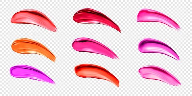 Pomadka rozmazuje próbki płynnego błyszczyka do palety do makijażu