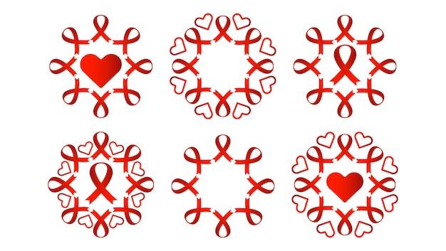Pomaga czerwona wstążka projekt kolekcji czerwona wstążka z sercem