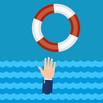 Pomagamy przetrwać biznesowi. tonący biznesmen dostaje koło ratunkowe o pomoc, wsparcie i przetrwanie. wektor ilustracja płaska konstrukcja.