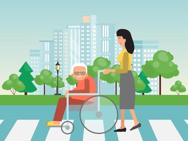 Pomaganie osobom niepełnosprawnym na skrzyżowaniu. pomoc dla osób starszych na wózku inwalidzkim. kobieta pomaga osobom starszym na wózkach inwalidzkich, aby przejść przez jezdnię.