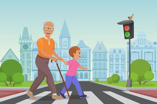 Pomaganie staruszkowi. mały chłopiec pomaga staruszkowi przejść przez ulicę w ilustracji miasta