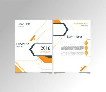 Pomarańczowy i czarny nowoczesny biznes ulotki, broszury, rozmiar szablonu magazynu