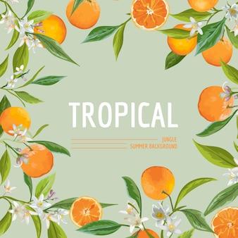 Pomarańcza, kwiaty i liście. egzotyczny graficzny tropikalny sztandar. tło ramki wektorowej.