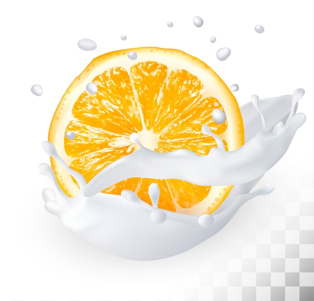 Pomarańcza w plusku mleka na przezroczystym tle