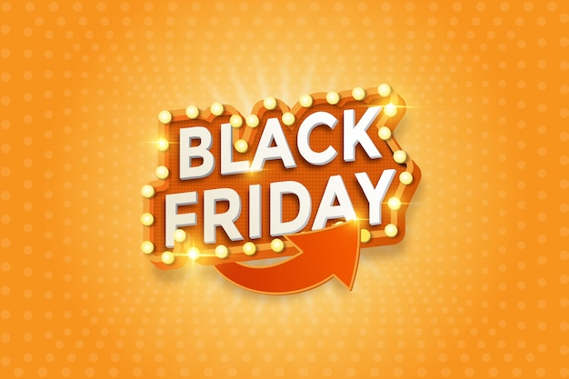 Pomarańczowa czcionka 3d z żarówką na sprzedaż w czarny piątek szablon transparent