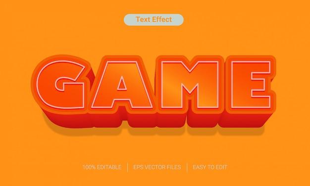 Pomarańczowa gra z efektem stylu tekstu do edycji z długim cieniem