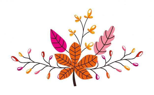 Pomarańczowa i różowa gałąź opuszcza jesień