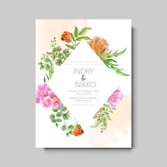 Pomarańczowa i różowa róża akwarela zaproszenie na ślub