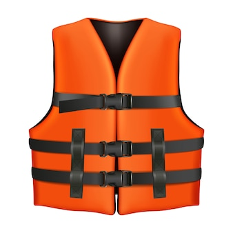 Pomarańczowa kamizelka ratunkowa z czarnymi klamrami. odosobniona ilustracyjna ikona na białym tle.