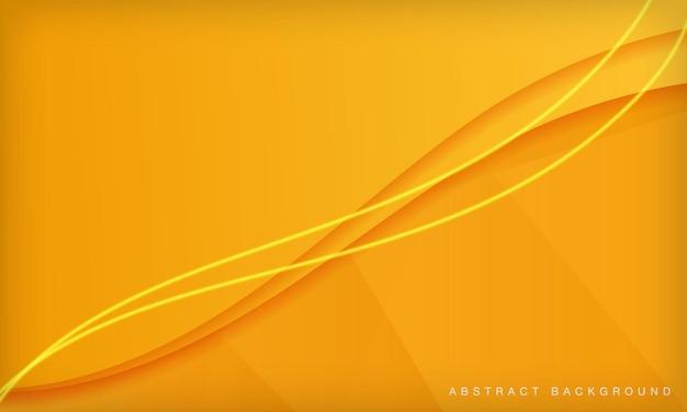 Pomarańczowa krzywa papercut abstrakcyjne minimalne geometryczne tło z jasną dekoracją świetlną