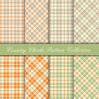 Pomarańczowa, pastelowa zieleń i beżowa kolekcja wzorów w kratę