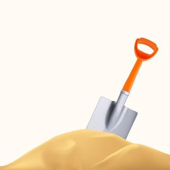 Pomarańczowa plastikowa łopata i wzgórze z piasku